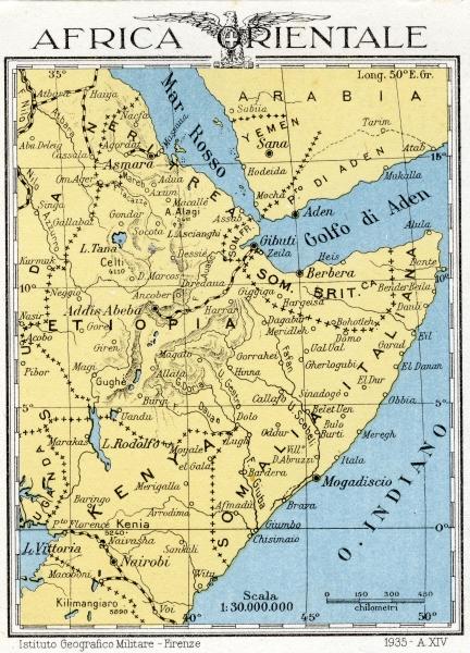 Cartina Geografica Africa Politica.Carta Geografica Dell Africa Orientale Del 1935 Anno Xiv Dell Era Fas Archivio Immagini Archivio Storico Della Citta Di Concorezzo